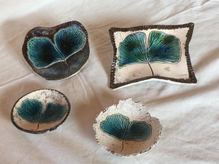 Coupelles décoration feuille de Ginkgo Biloba